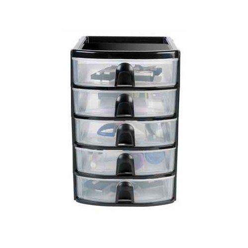 Newell Rubbermaid Home Black 5 Mini Drawer Tower 3B0100BLA