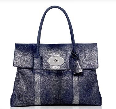 0ee55f71a3dc Mulberry Bayswater Metallic Calf-Hair Navy Bag