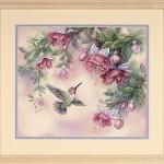 hummingbird and fuchsias crossstitch